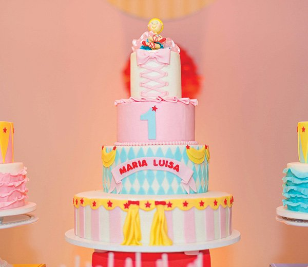 circus birthday party tiered cake