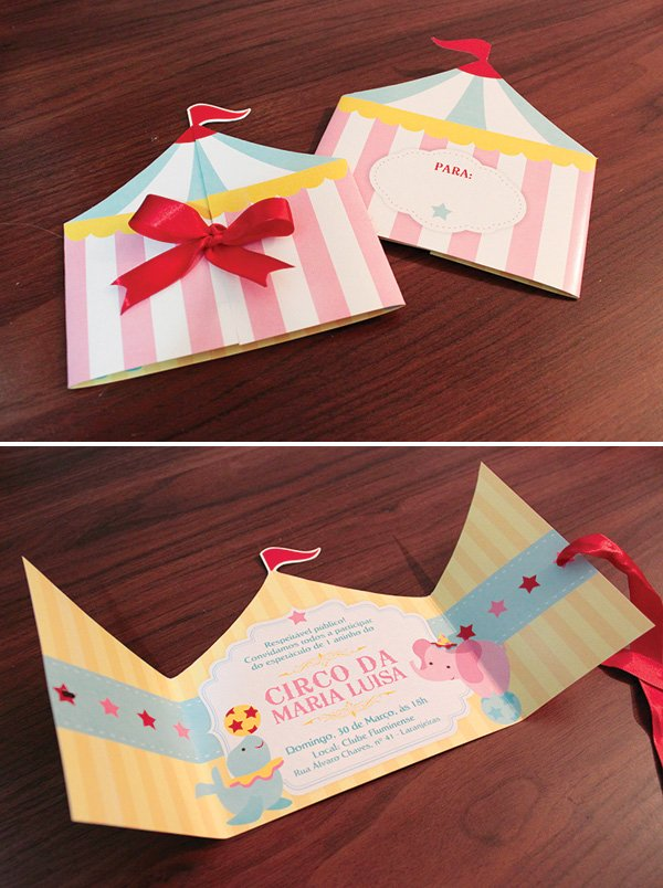 circus party big top tent invitation