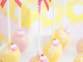 pink and yellow cupcake topped cake pops