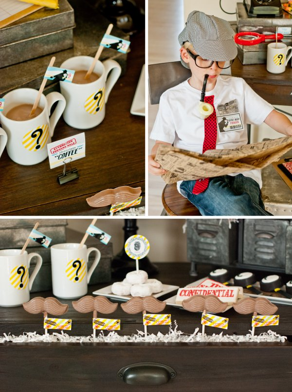 detective party chocolate milk mugs