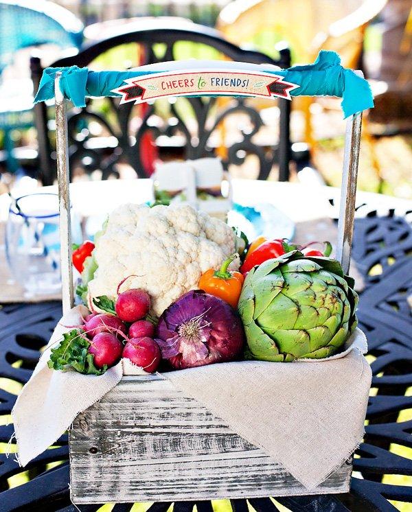 DIY vegetable basket centerpiece