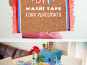 DIY Washi Tape and Cork Tile Placemats with Tissue Fringe