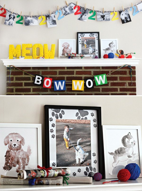 dog and cat birthday party mantle decorations