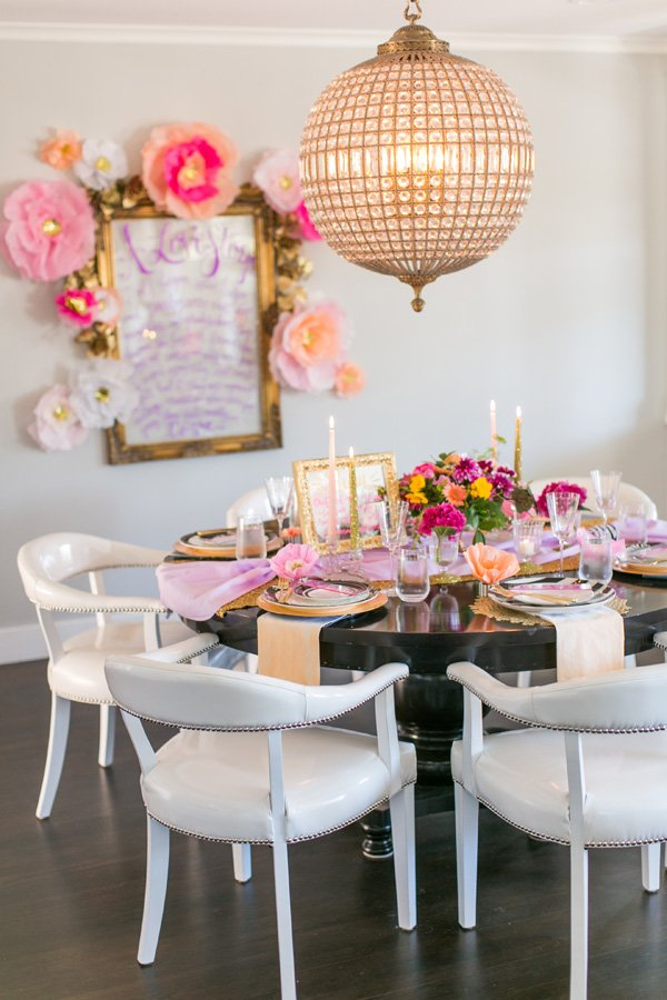 colorful engagement dinner party