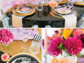 black and white with pops of color for an engagement dinner party tablescape