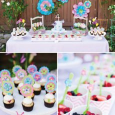 fairy garden birthday party dessert table