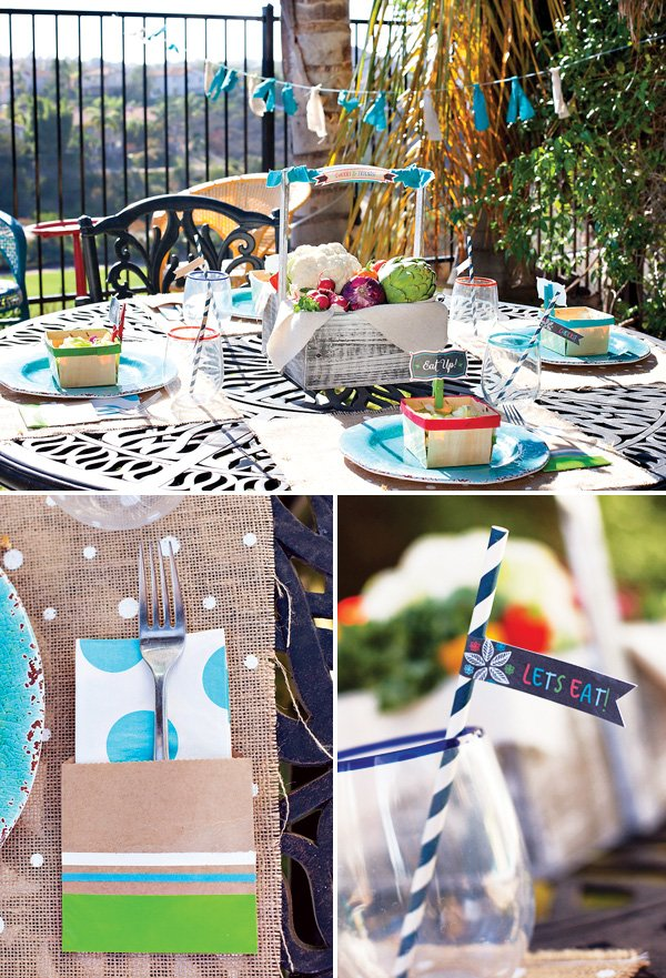 fresh, farmers market inspired outdoor tablescape