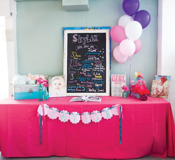 first birthday party chalkboard sign