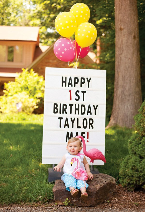 first birthday party marquee sign