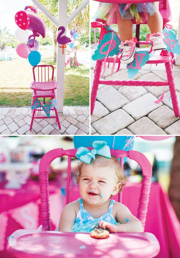 first birthday party pink highchair
