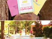 tropical flamingo first birthday party invitation and tablescape
