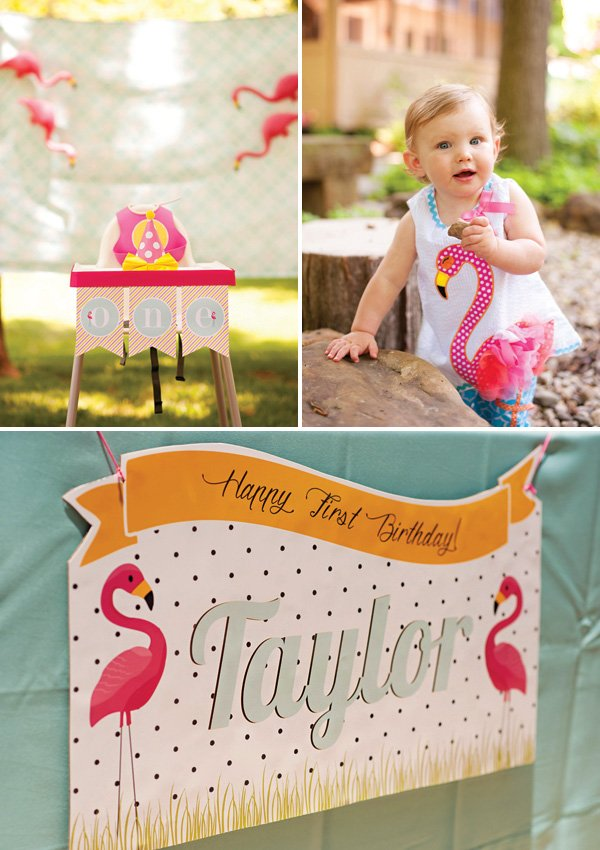 flamingo first birthday party high chair