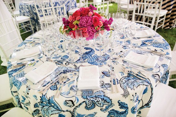blue floral wedding tablescape