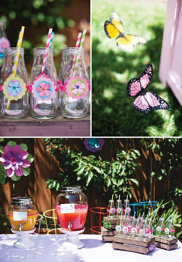 flower decorate milk glasses