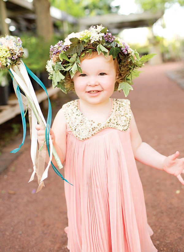 flower girl's head wreath and floral wand
