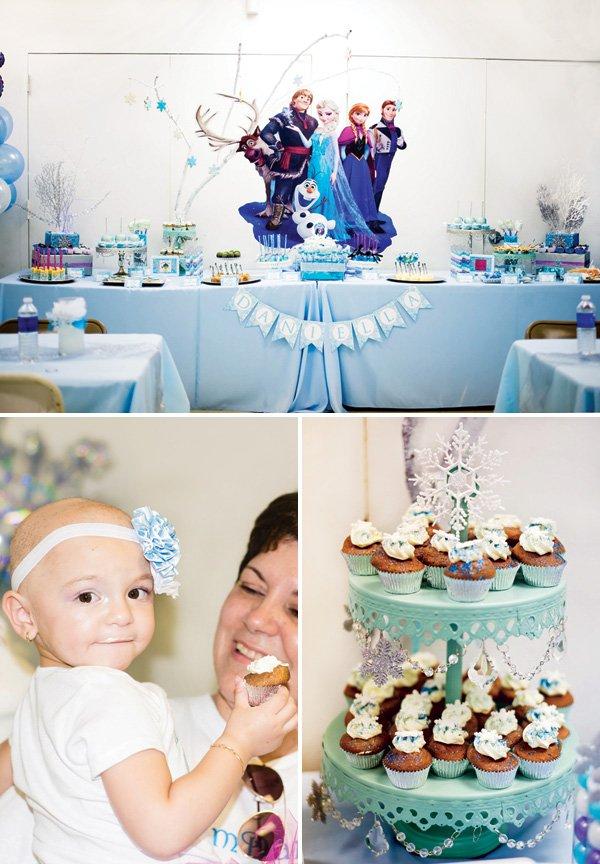 frozen birthday party dessert table