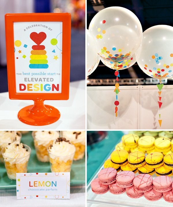 geometric rainbow cocktail party ideas