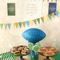 girly football party dessert table
