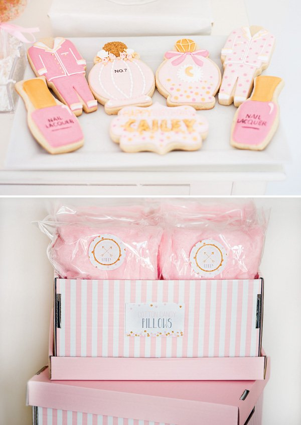 glamorous pink cookies and pink cotton candy