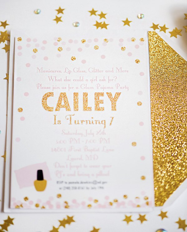 gold glitter birthday party invitation