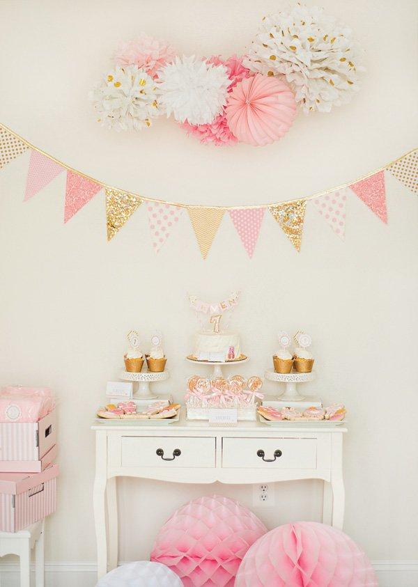 gold and pink birthday party dessert table