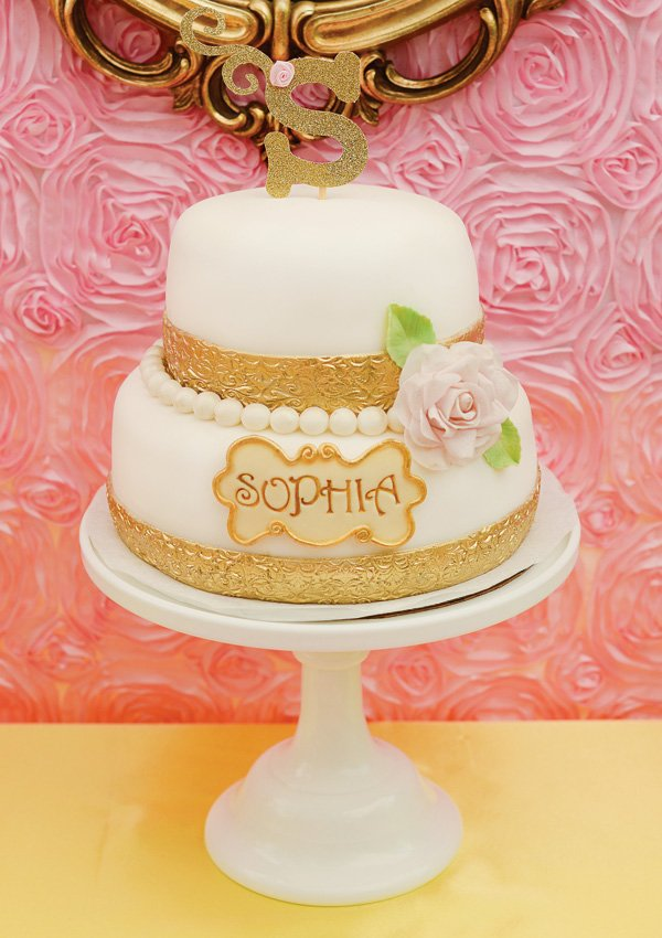 gold princess birthday cake