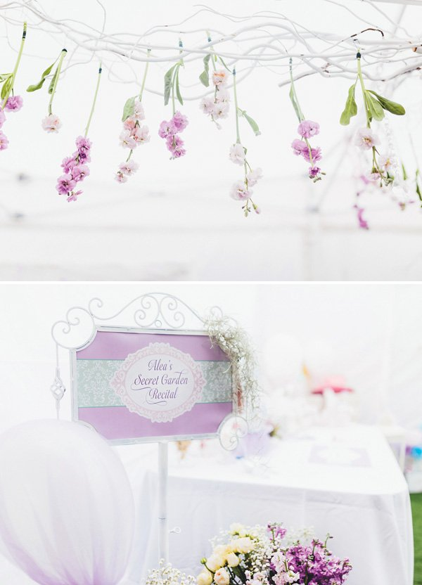 hanging floral branches as party decor