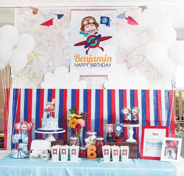Adorable Soaring High Airplane Birthday Party Hostess with the