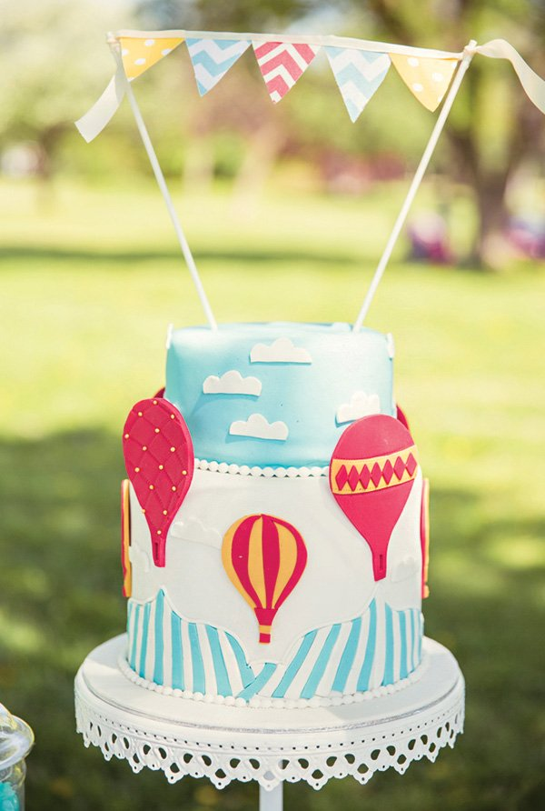 hot air balloon birthday cake