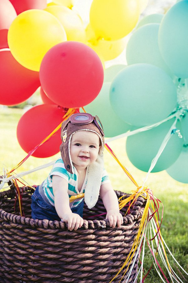 hot air balloon first birthday party