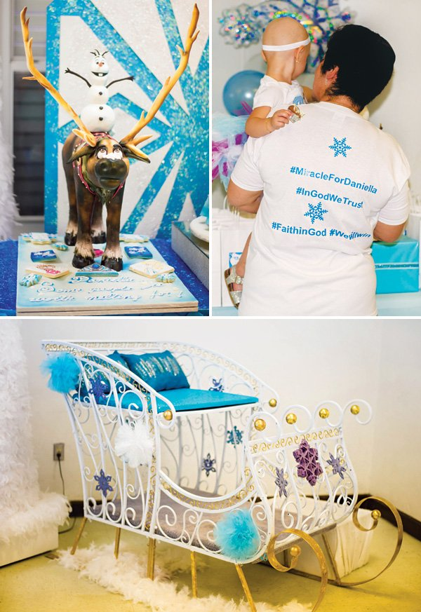 kid's sleigh for a frozen birthday party