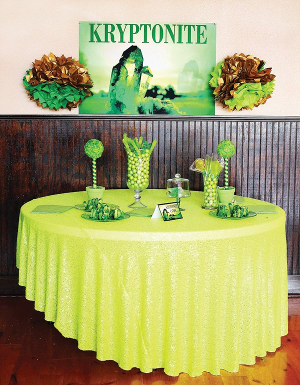 superman party kryptonite candy table