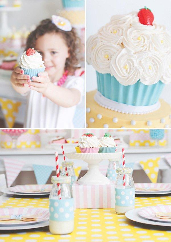 large cupcake birthday cake