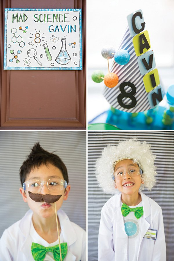 mad scientist photo booth and party hats