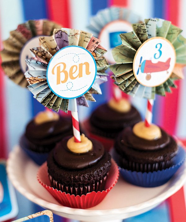 map rosette topped chocolate cupcakes