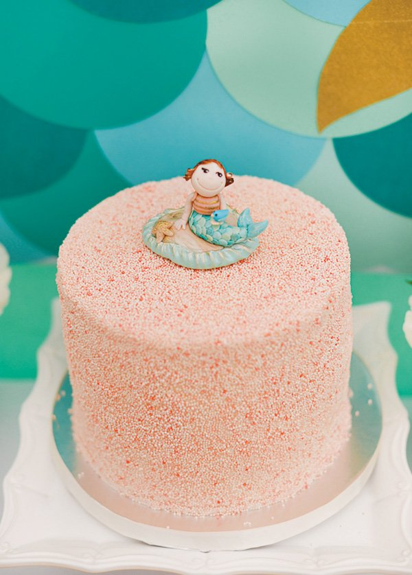 mermaid topped birthday cake