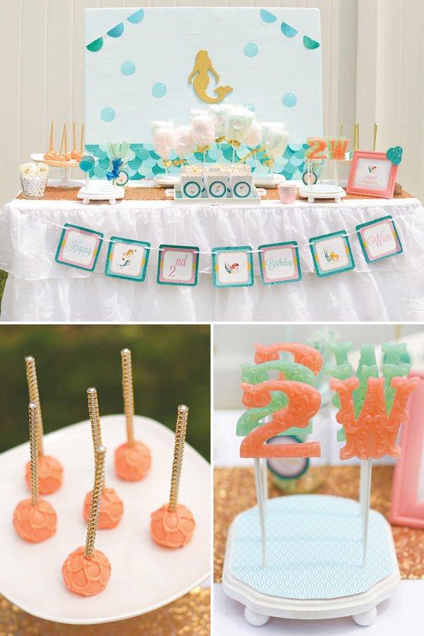 mermaid birthday party dessert table