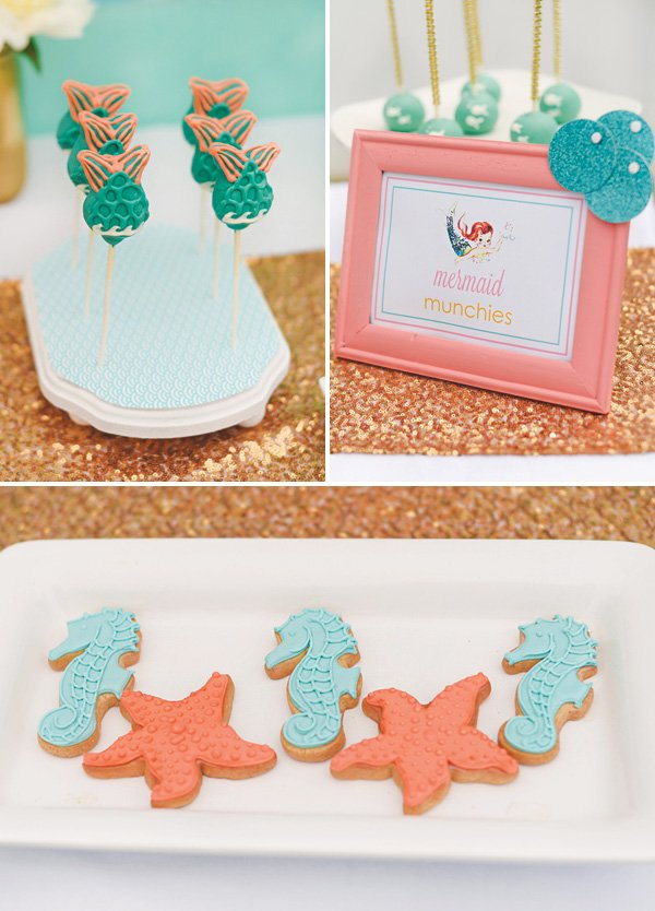 under the sea cookies and mermaid cake pops