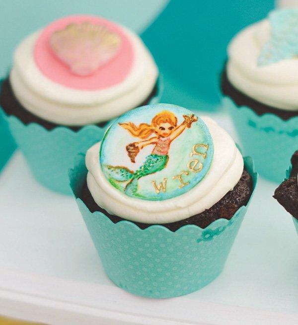 mermaid painted cupcakes