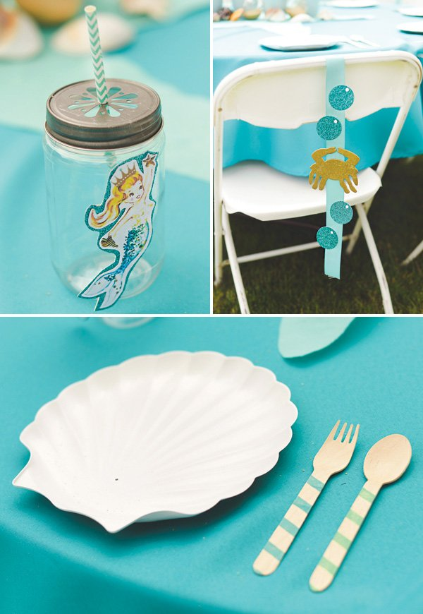 mermaid party tablescape and place setting ideas