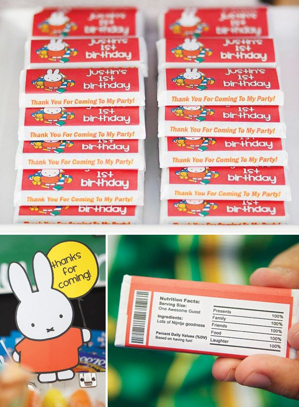 Nijntje Miffy candy bar printables