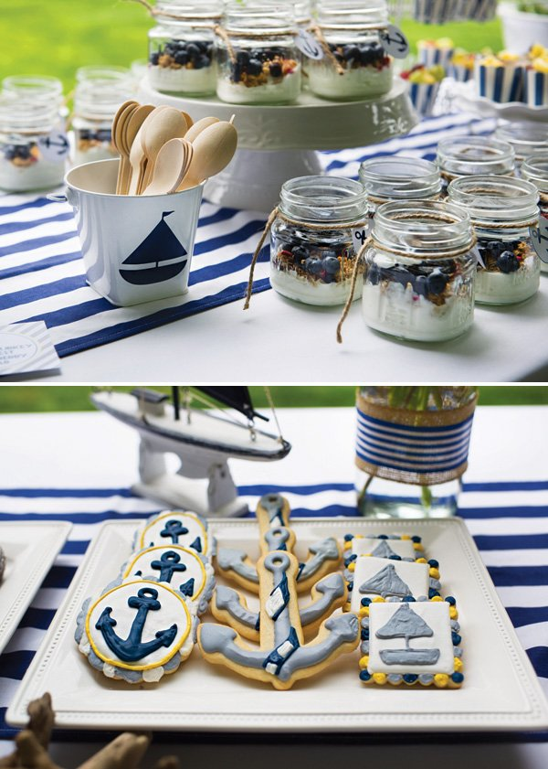nautical baby shower blue and white desserts