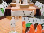 orange and green camping tablescape