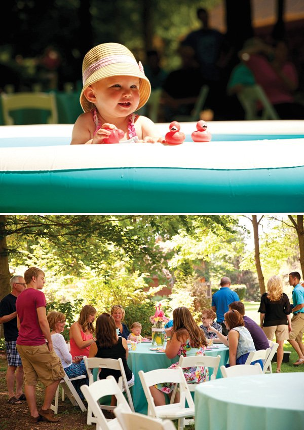 outdoor family birthday party with a kiddy pool