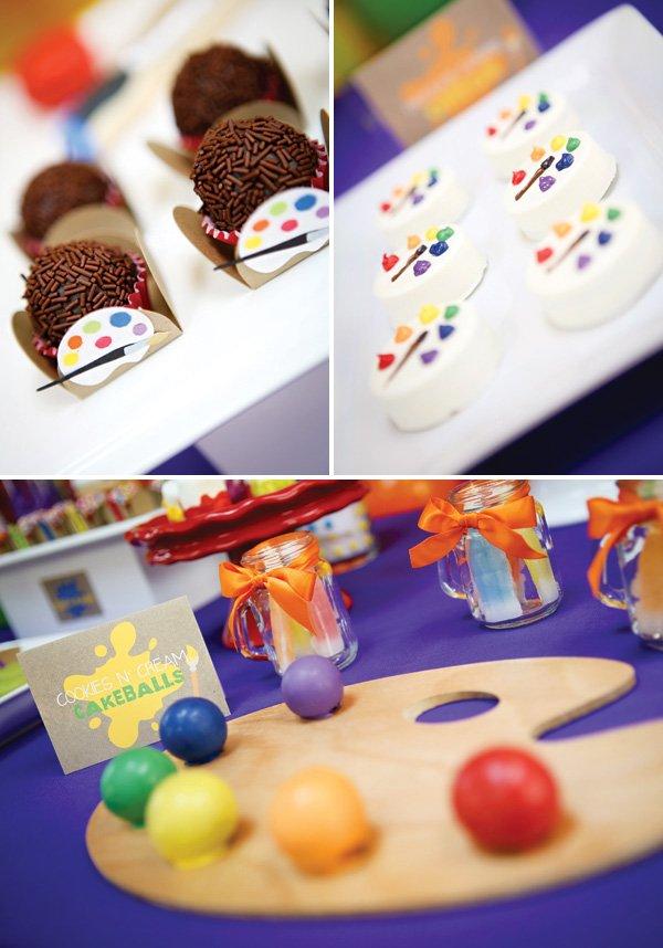 rainbow paint palette desserts