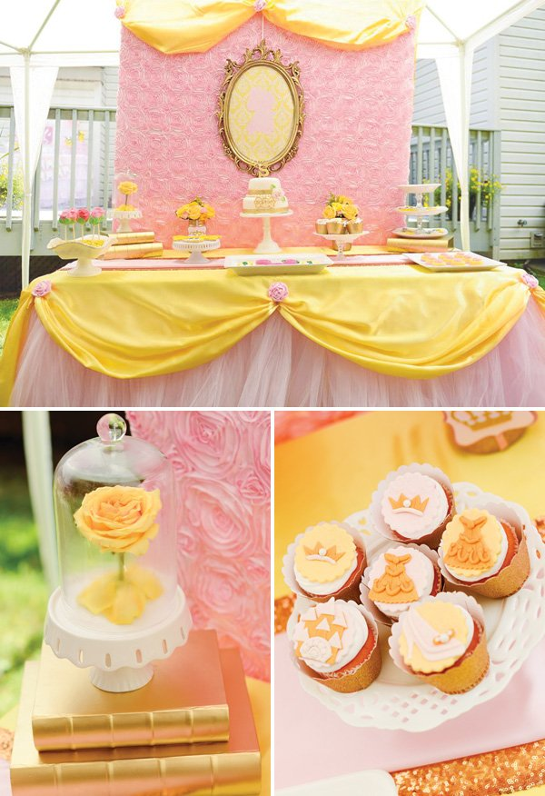 Belle inspired princess tea party birthday be our guest for Deco de table princesse