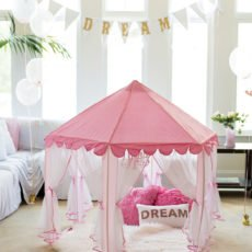 girls pink fabric tent