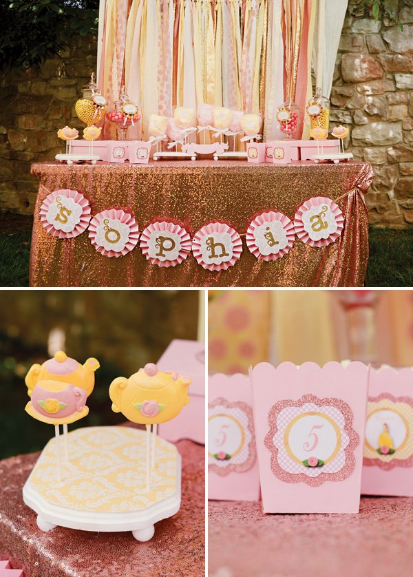 pink glitter and gold princess party favor table