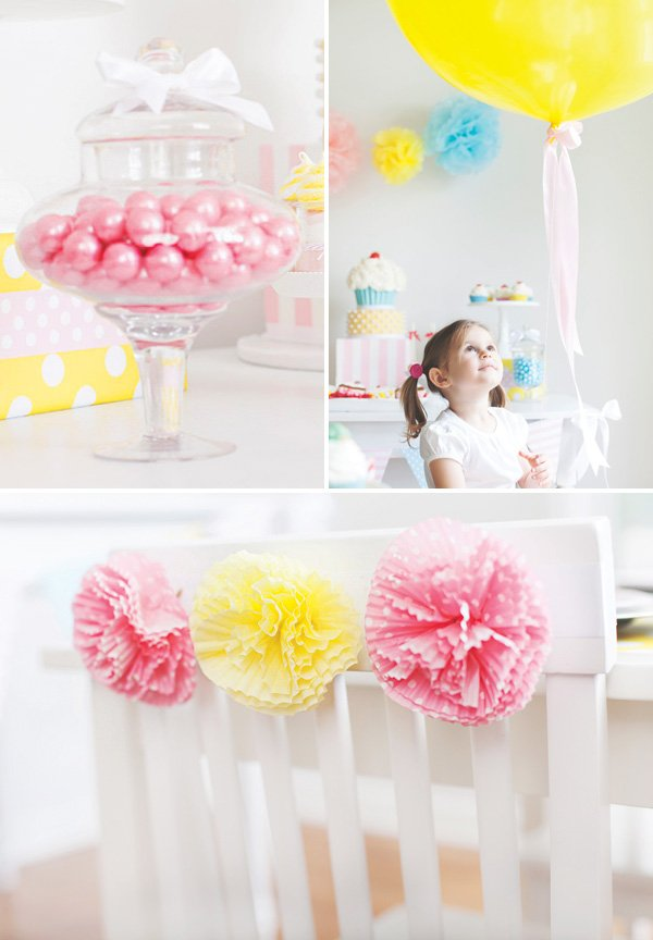 pink and yellow girls party decor