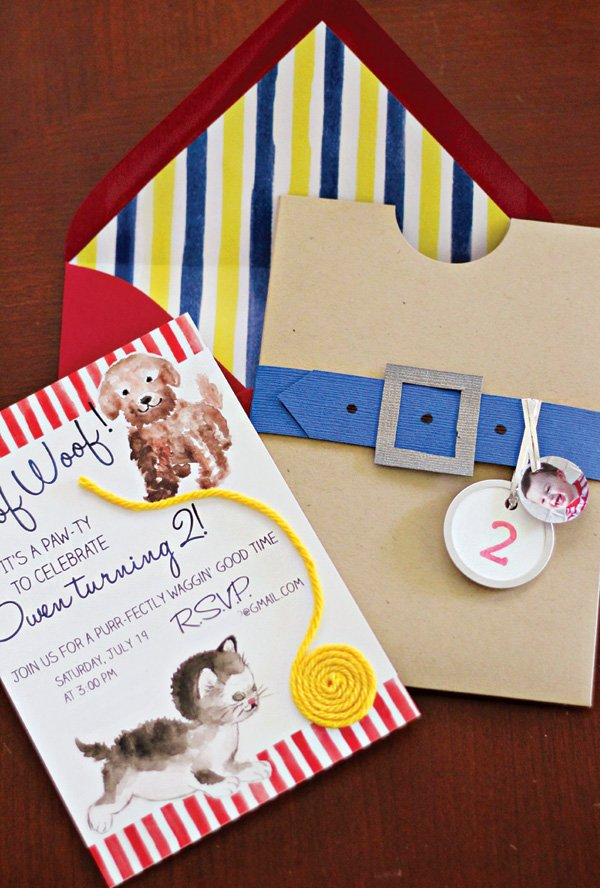 puppy and kitten party invitation